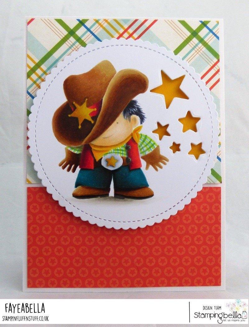 www.stampingbella.com: rubber stamp used: COWBOY SQUIDGY, card made by FAYE WYNN JONES