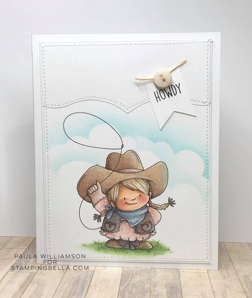 www.stampingbella.com: rubber stamp used: COWGIRL  SQUIDGY, card made by Paula Williamson