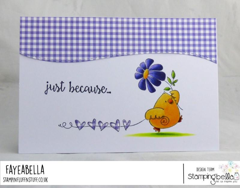 www.stampingbella.com:  rubber stamp used MARCHING CHICK card by FAYE WYNN JONES