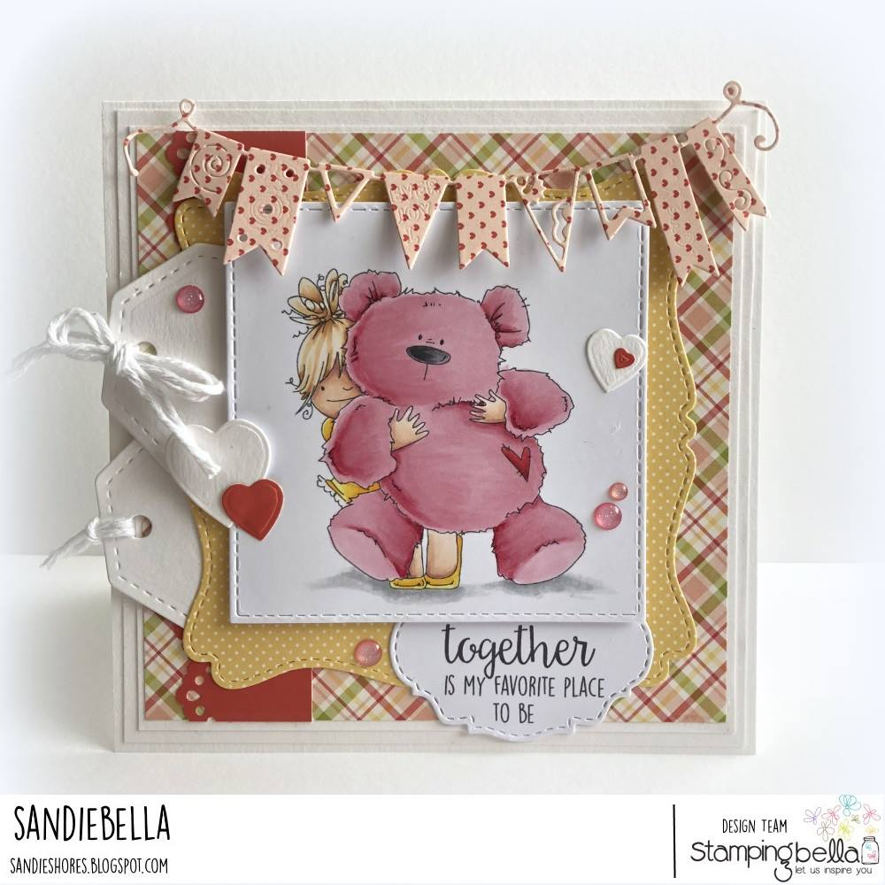 www.stampingbella.com: rubber stamp used: SQUIDGY AND TEDDY, card made by Sandie Dunne