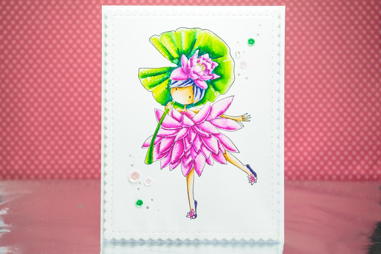 www.stampingbella.com: rubber stamp used: TINY TOWNIE GARDEN GIRL WATER LILY card by Julia Altermann