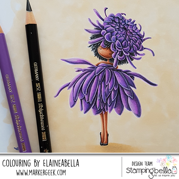 Marker Geek Monday: No Line Colouring Tiny Townie Garden Girl Chrysanthemum