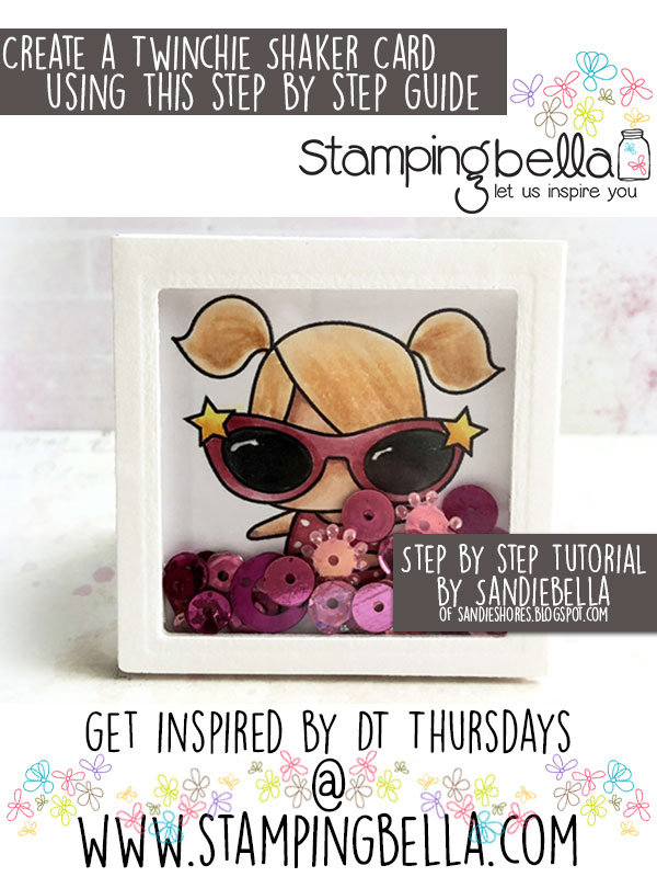 Stamping Bella DT Thursday: Create a Twinchie Shaker Card with Sandiebella!