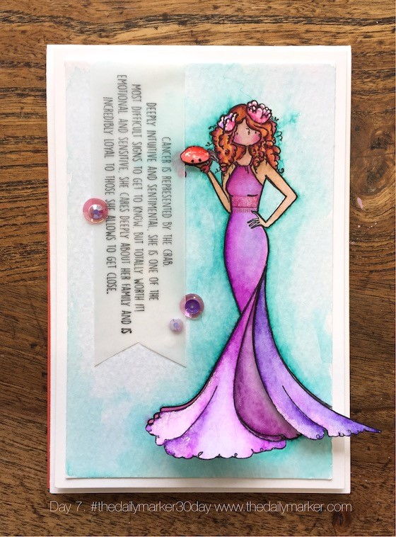 www.stampingbella.com: rubber stamp used: UPTOWN ZODIAC GIRL CANCER, card by Kathy Racoosin