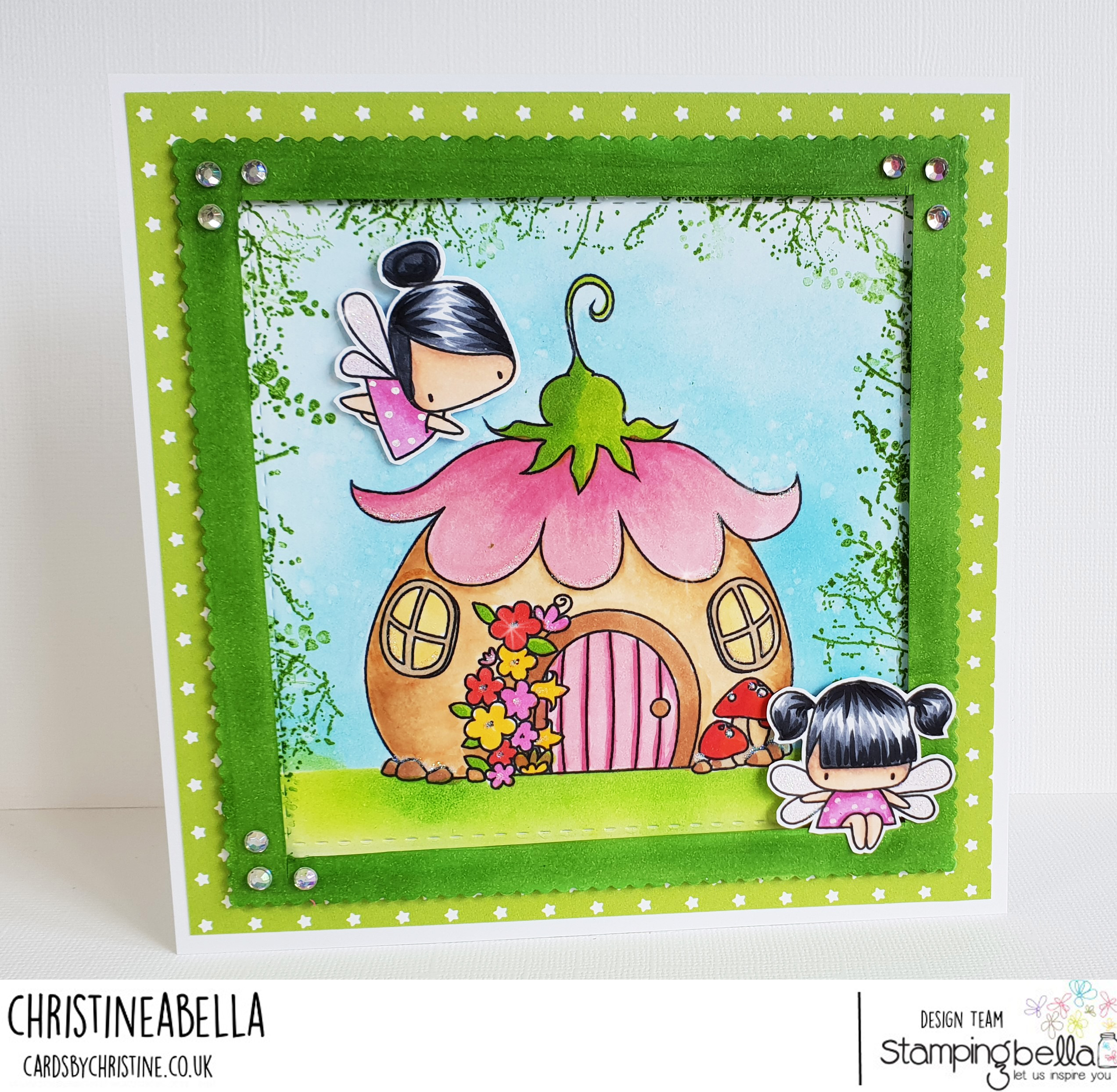 www.stampingbella.com: rubber stamp: THE LITTLES FAIRY HOUSE, LITTLE BITS FAIRY SET card by CHRISTINE LEVISON