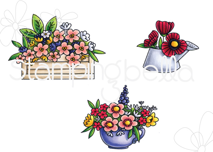 www.stampingbella.com: rubber stamp: LITTLE BITS FLOWER POTS
