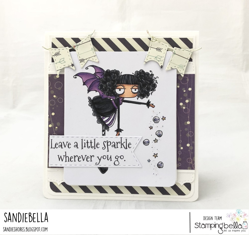 www.stampingbella.com: rubber stamp used ODDBALL SPARKLE FAIRY, card by Sandie Dunne