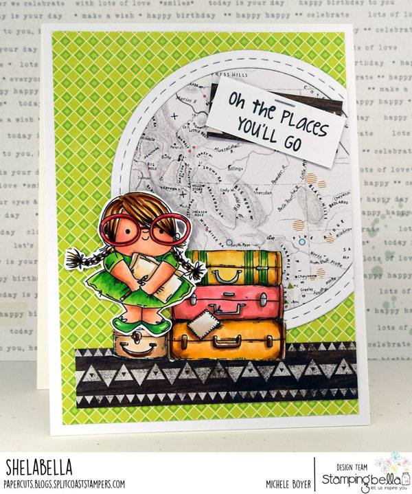 www.stampingbella.com- rubber stamp used: SQUIDGY PALS and the luggage from ROSIE AND BERNIE PLAN A TRIP  Card by Michele Boyer