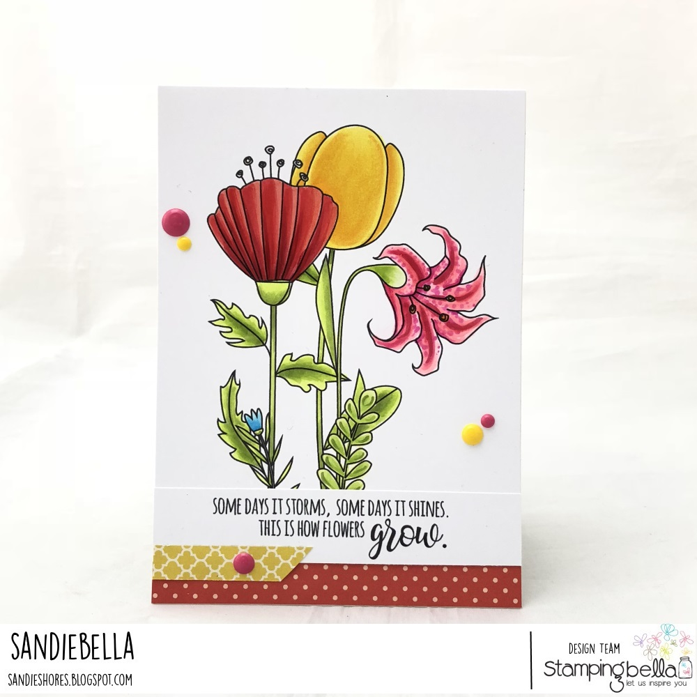 www.stampingbella.com: rubber stamp: STRAIGHT UP FLORAL SET, TULIP FLORAL SET, SIDE TO SIDE FLORAL SET, CARD BY SANDIE DUNNE