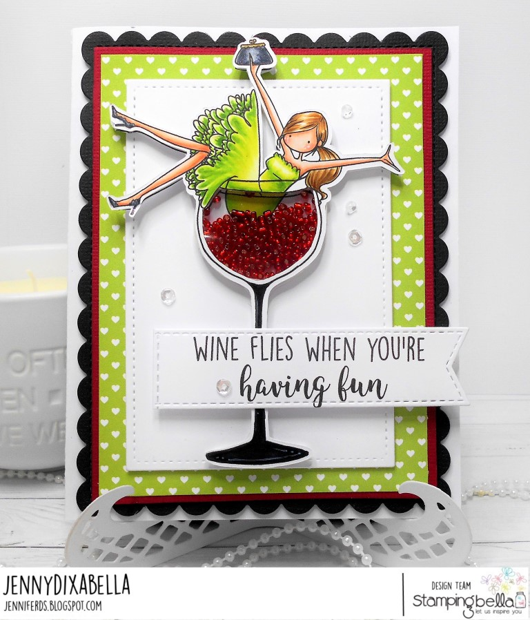 www.stampingbella.com: Rubber stamp UPTOWN GIRL WILMA LOVES WINE. Card by Jenny Dix