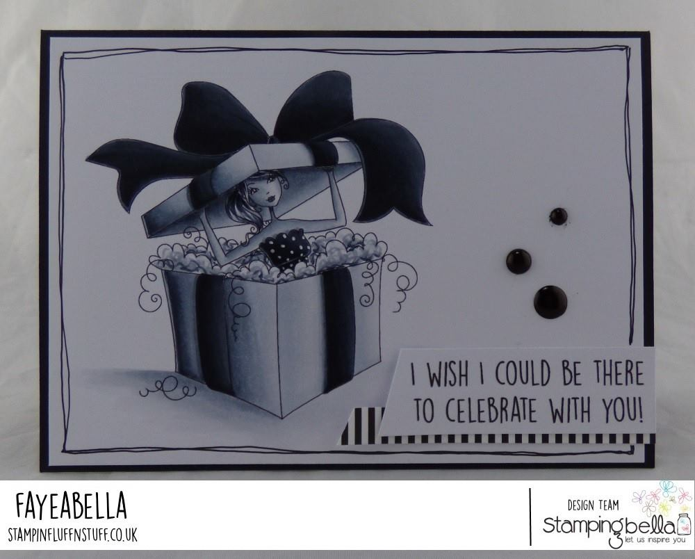 www.stampingbella.com: rubber stamp used:  ALLBOXEDUPABELLA card by Faye Wynn Jones