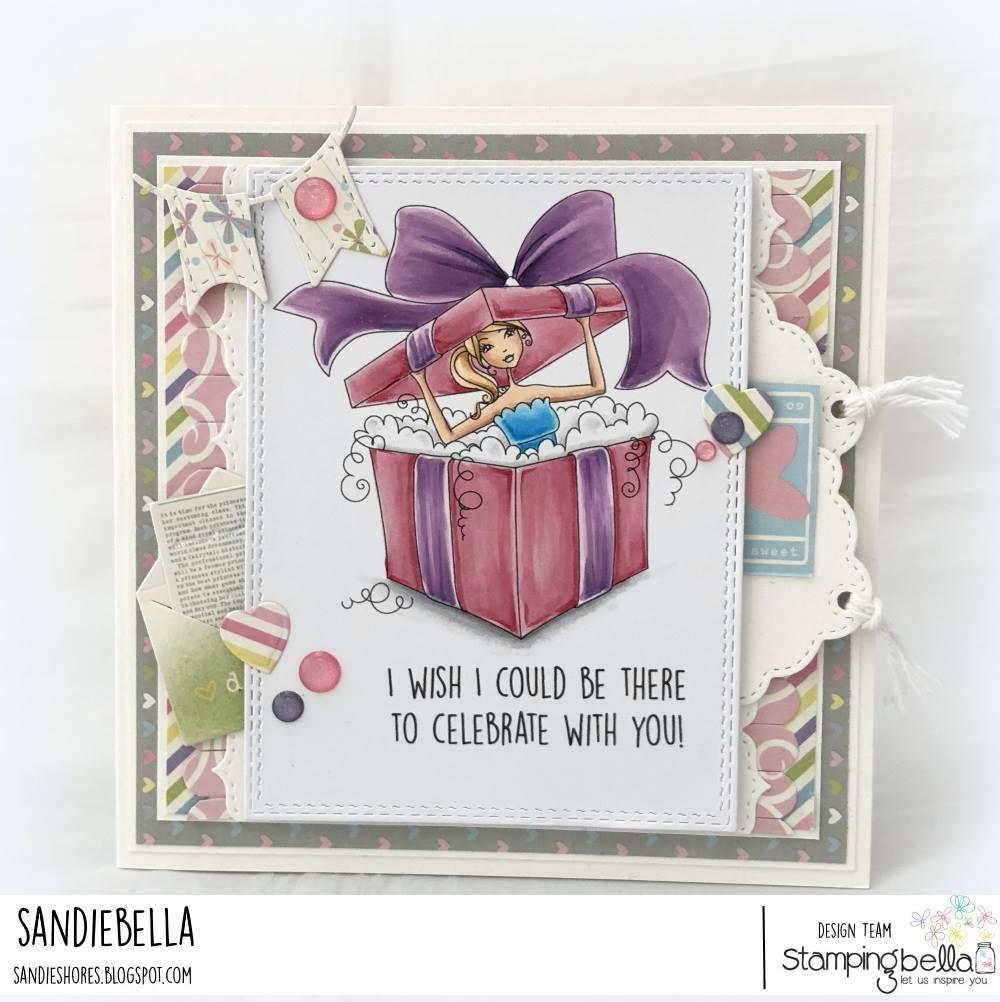 www.stampingbella.com: rubber stamp used:  ALLBOXEDUPABELLA card by Sandie Dunne