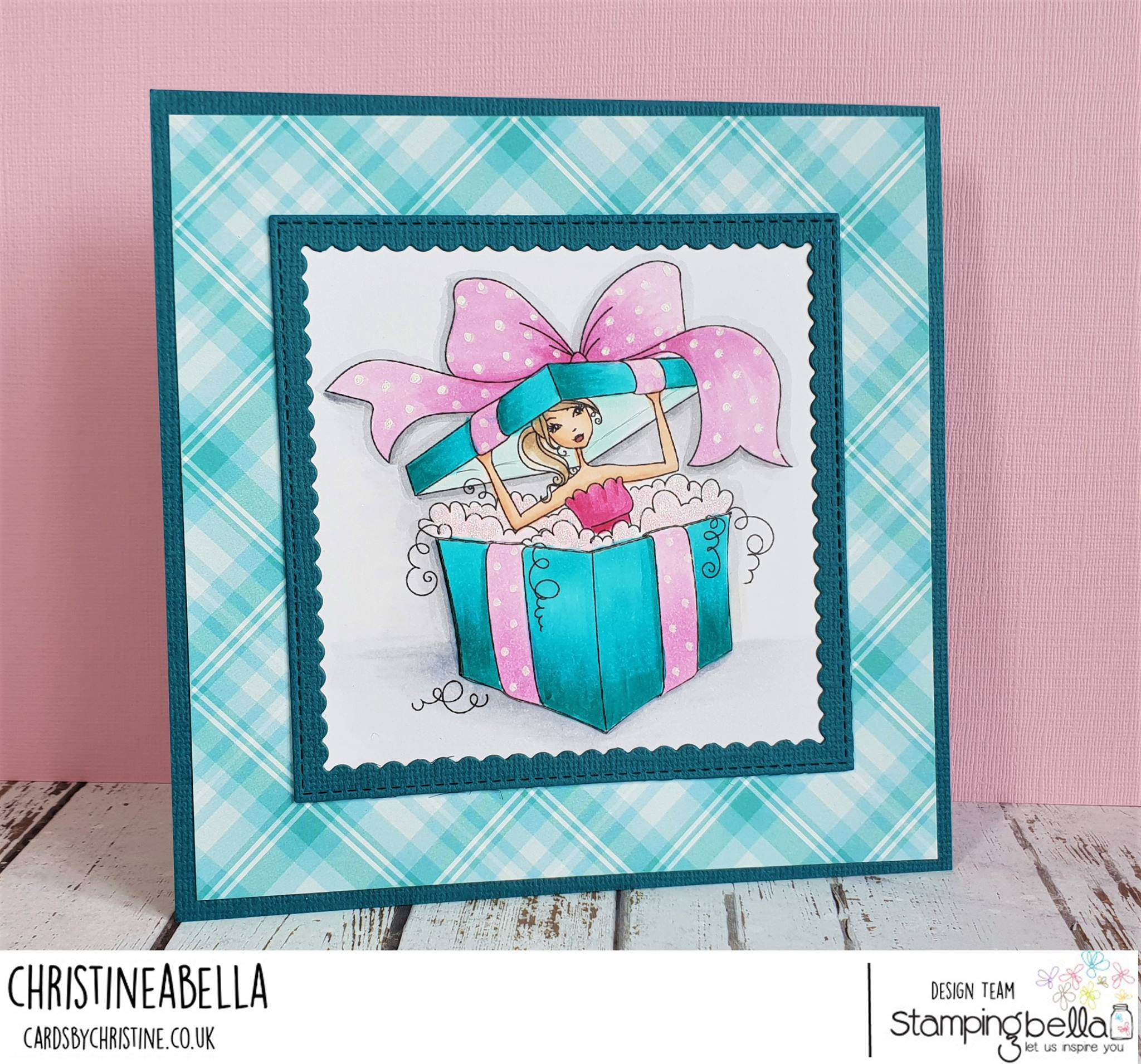 www.stampingbella.com: rubber stamp used:  ALLBOXEDUPABELLA card by Christine Levison