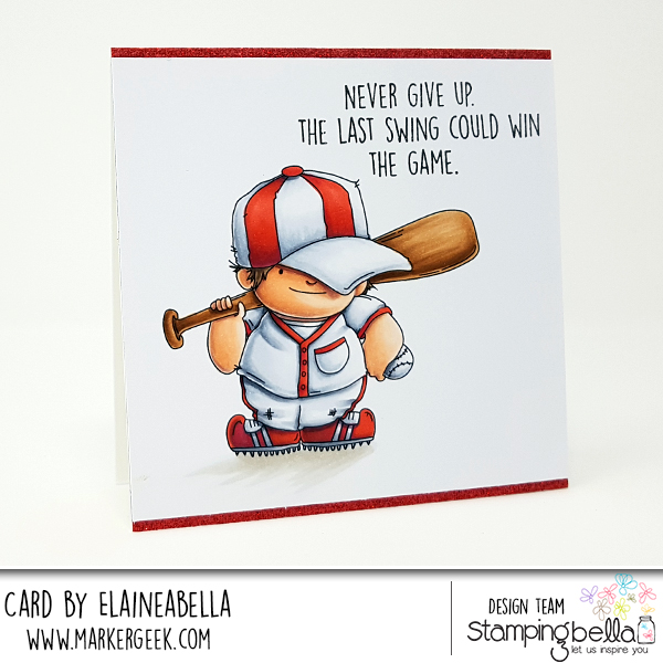 www.stampingbella.com: rubber stamp: BASEBALL SQUIDGY, card by Elaine Hughes