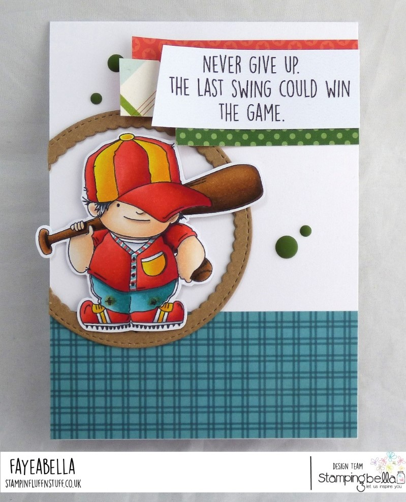 www.stampingbella.com: rubber stamp: BASEBALL SQUIDGY, card by Faye Wynn Jones