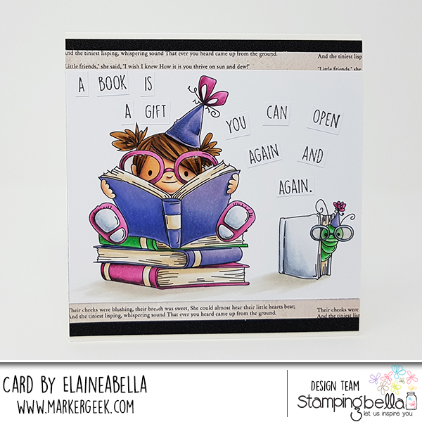 www.stampingbella.com: rubber stamp: BOOKWORM SQUIDGY, card by Elaine Hughes