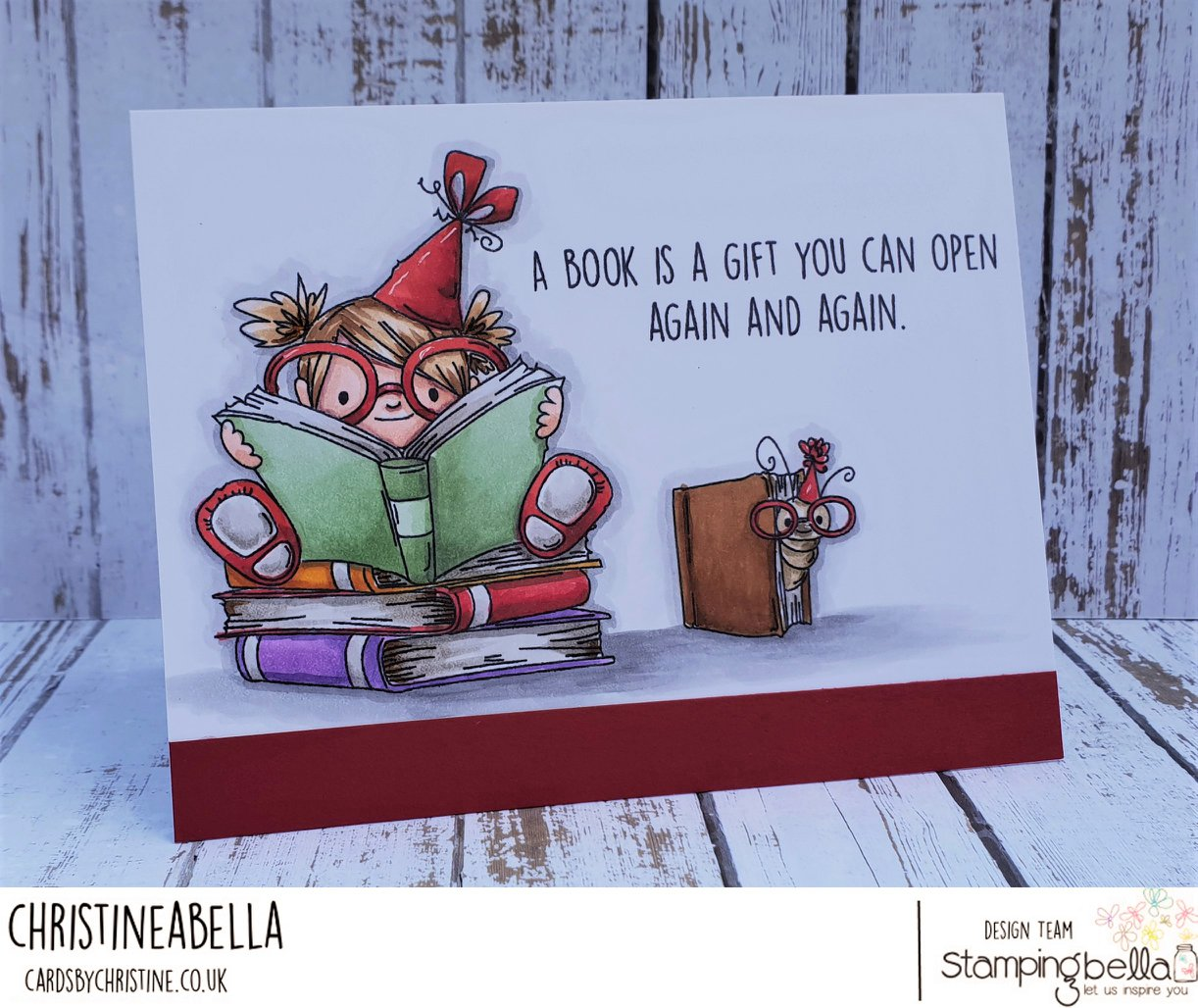 www.stampingbella.com- rubber stamp used: BOOKWORM SQUIDGY.  Card by Christine Levison
