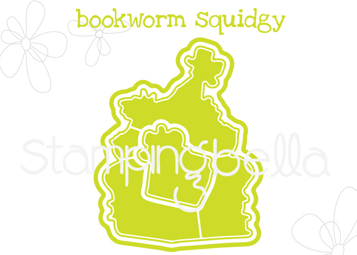 www.stampingbella.com: rubber stamp: BOOKWORM SQUIDGY