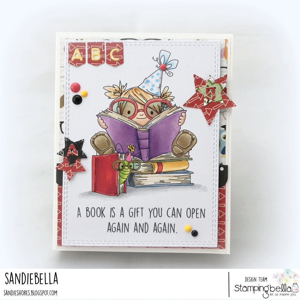 www.stampingbella.com: rubber stamp: BOOKWORM SQUIDGY, card by Sandie Dunne