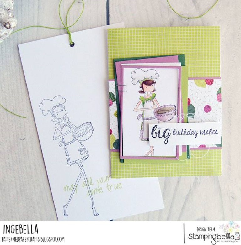 www.stampingbella.com: rubber stamp used: UPTOWN GIRL CHANEL THE CHEF card by INGE GROOT