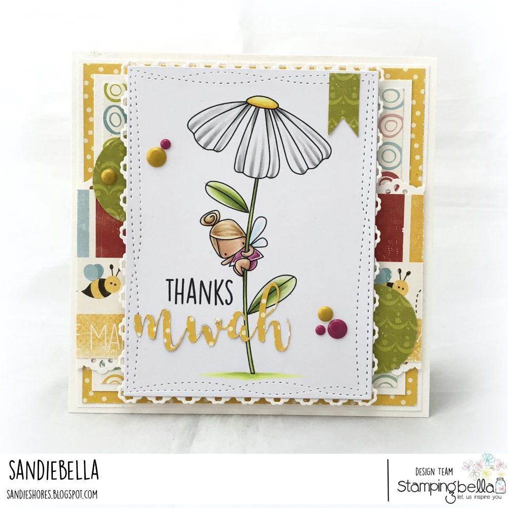 www.stampingbella.com, RUBBER STAMP: DAISY FLORAL SET and MWAH CUT IT OUT DIE, card by SANDIE DUNNE