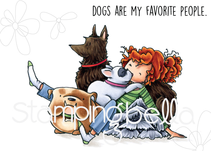 www.stampingbella.com, RUBBER STAMP: TINY TOWNIE DAPHNE and her DOGS