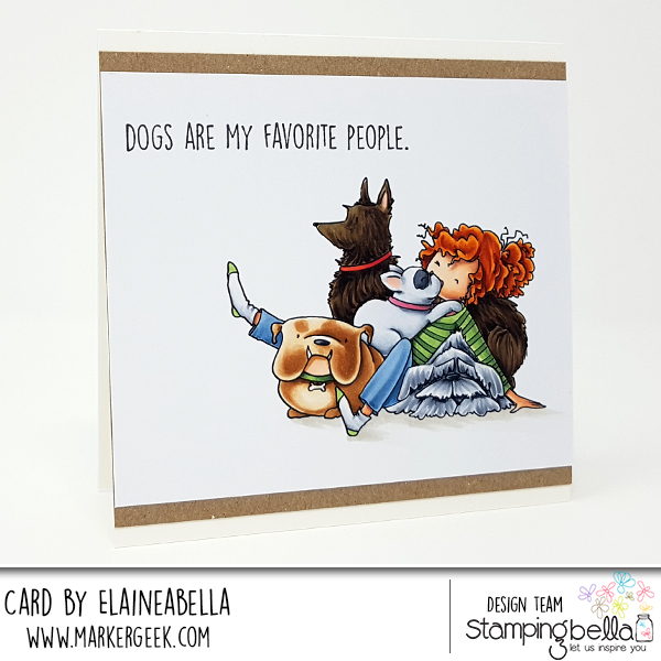 www.stampingbella.com, RUBBER STAMP: TINY TOWNIE DAPHNE and her DOGS, card by Elaine Hughes