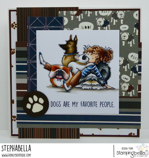 www.stampingbella.com, RUBBER STAMP: TINY TOWNIE DAPHNE and her DOGS, card by Stephanie Hill