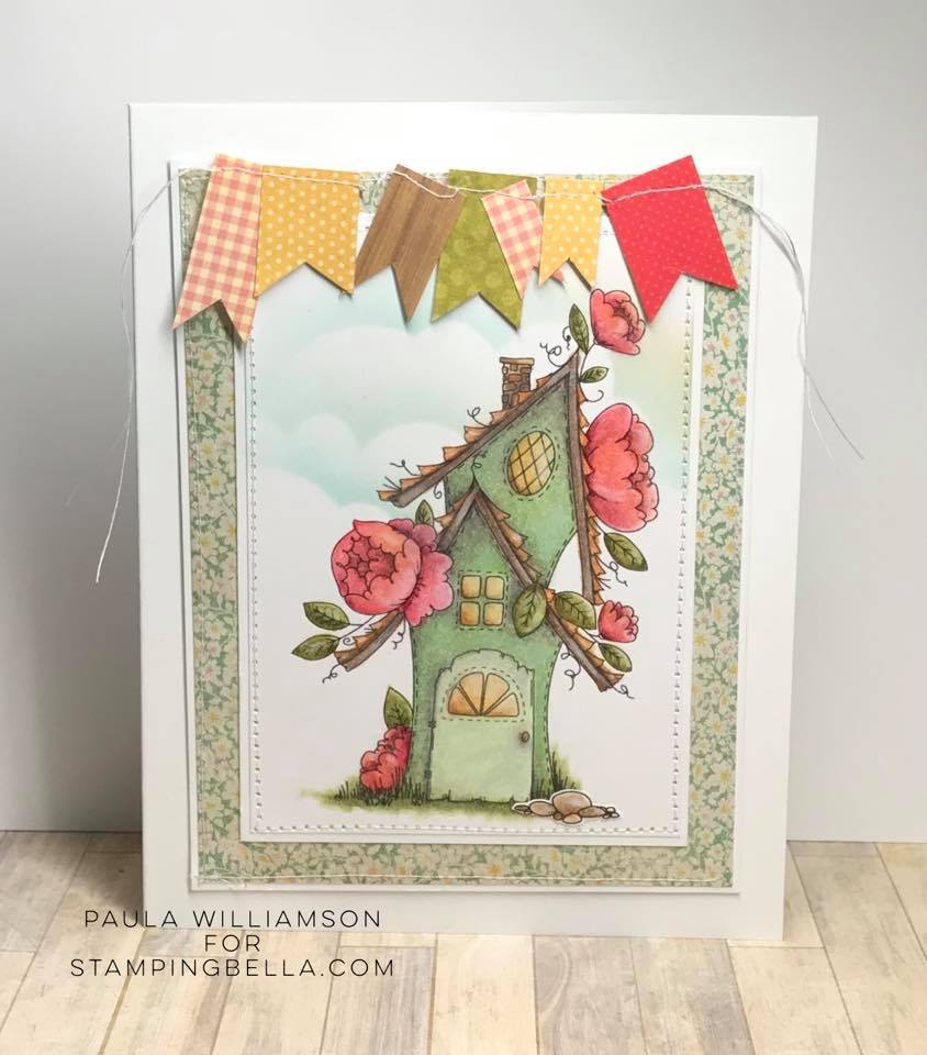 www.stampingbella.com: rubber stamp used: FAIRY GARDEN FAIRY HOUSE.  Card by Paula Williamson
