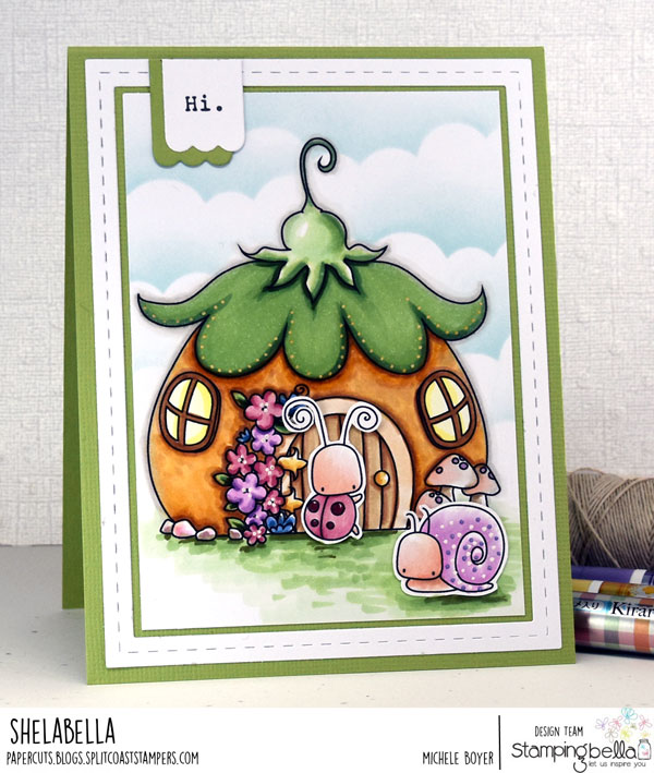 www.stampingbella.com: rubber stamp: THE LITTLES FAIRY HOUSE, LITTLE BITS LITTLE CRITTERS card by MICHELE BOYER