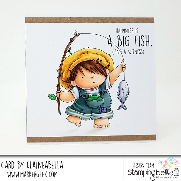 www.stampingbella.com: rubber stamp: Fishing Squidgy, card by Elaine Hughes