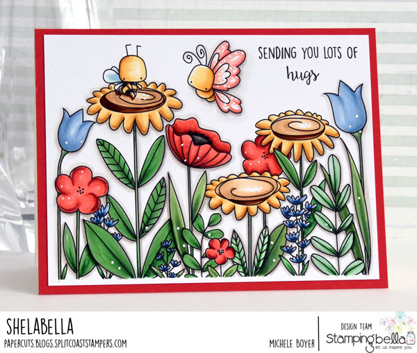 www.stampingbella.com: rubber stamp: FLORAL FOREST BACKDROP and little bits little CRITTERS set CARD BY MICHELE BOYER