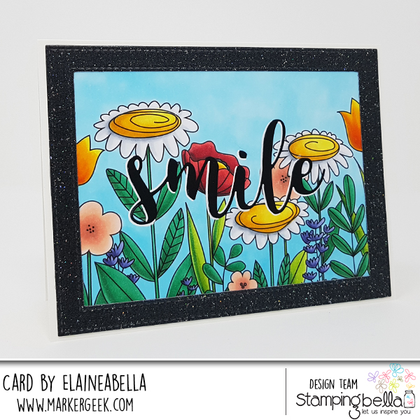 "www.stampingbella.com: rubber stamp: FLORAL FOREST BACKDROP, SMILE ""CUT IT OUT"" DIE card by ELAINE HUGHES"