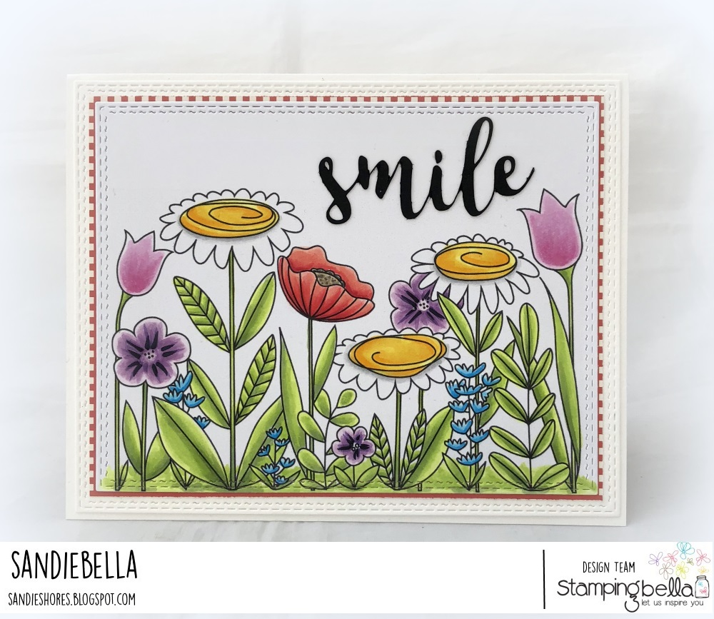 "www.stampingbella.com: rubber stamp: FLORAL FOREST BACKDROP, SMILE ""CUT IT OUT"" DIE CARD BY SANDIE DUNNE"