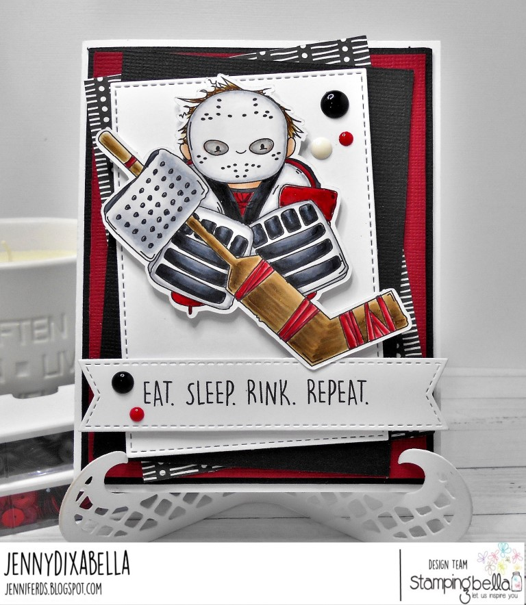 www.stampingbella.com: rubber stamp: GOALIE SQUIDGY, card by Jenny Dix