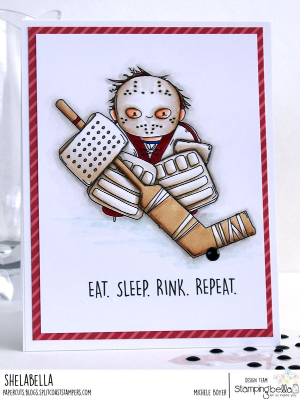 www.stampingbella.com: rubber stamp: GOALIE SQUIDGY, card by Michele Boyer