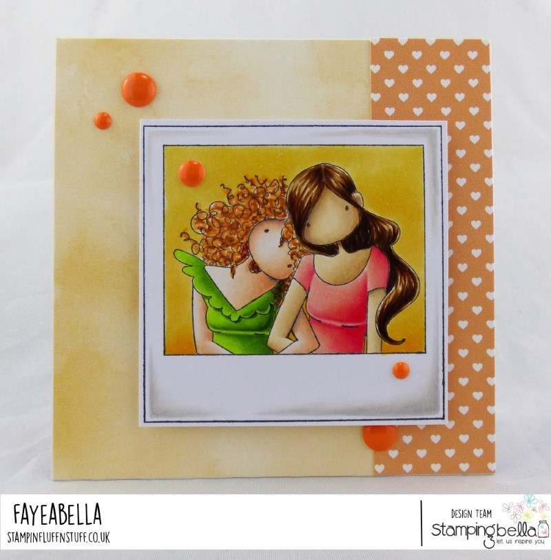 www.stampingbella.com: rubber stamp used: UPTOWN GIRLS SNAPSHOTS LEAN ON ME