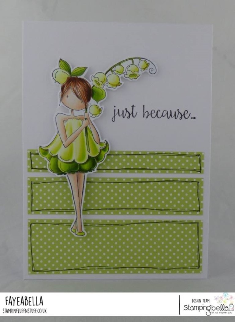 www.stampingbella.com: rubber stamp used: UPTOWN GARDEN GIRL LILY OF THE VALLEY card by FAYE WYNN JONES