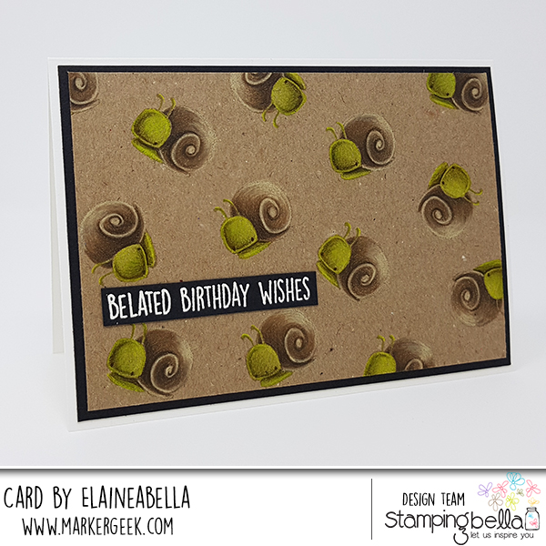 www.stampingbella.com: rubber stamp: LITTLE BITS LITTLE CRITTERS SET, BIRTHDAY SENTIMENT SET, card by ELAINE HUGHES