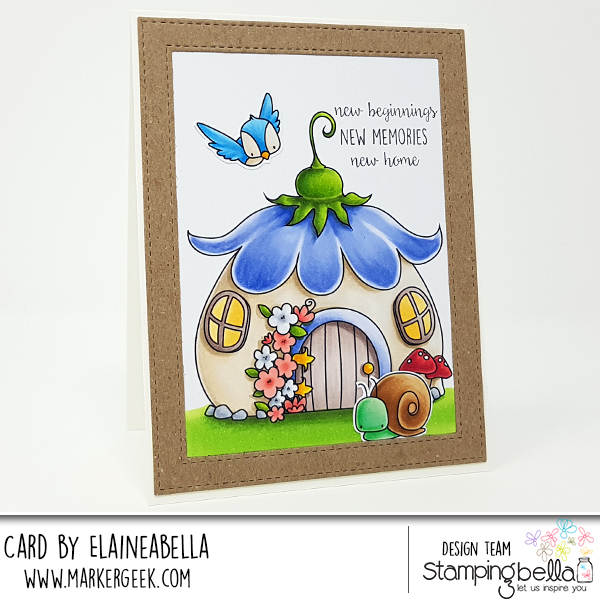 www.stampingbella.com: rubber stamp: THE LITTLES FAIRY HOUSE and little bits LITTLE CRITTERS card by Elaine Hughes