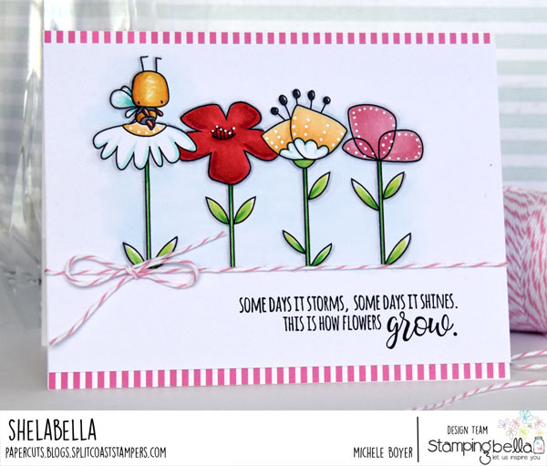 www.stampingbella.com: rubber stamp: LITTLE BITS FLORAL SET, LITTLE BITS LITTLE CRITTERS. Card by MICHELE BOYER
