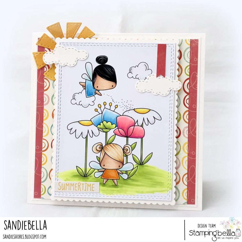 www.stampingbella.com: rubber stamp: LITTLE BITS FLORAL SET, LITTLE BITS FAIRY SET, EDNA BLOWS A KISS. CARD BY SANDIE DUNNE