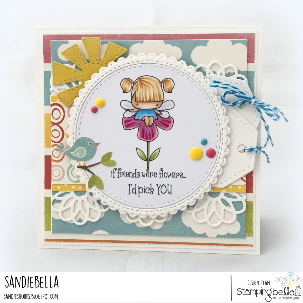 www.stampingbella.com: rubber stamp: LITTLE BITS FLORAL SET, LITTLE BITS FAIRY SET. CARD BY SANDIE DUNNE