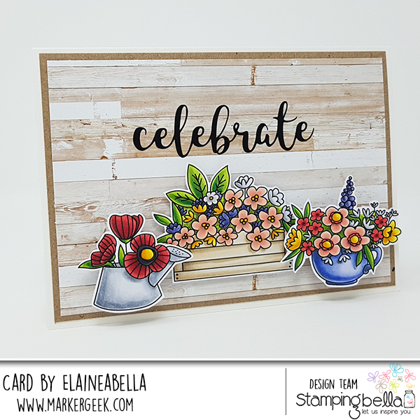"www.stampingbella.com: rubber stamp: LITTLE BITS FLOWER POTS, CELEBRATE ""CUT IT OUT"" DIE"