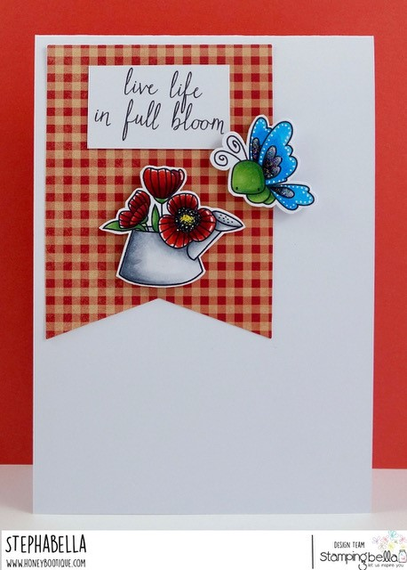 www.stampingbella.com: rubber stamp: LITTLE BITS FLOWER POTS, LITTLE BITS CRITTERS. CARD BY STEPHANIE HILL