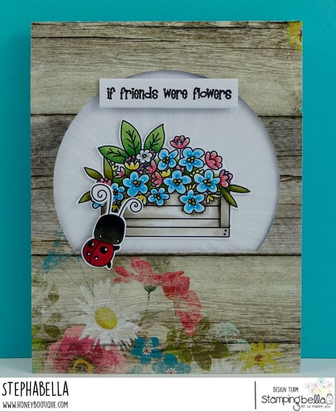 www.stampingbella.com: rubber stamp: LITTLE BITS FLOWER POTS, LITTLE BITS CRITTERS . CARD BY STEPHANIE HILL