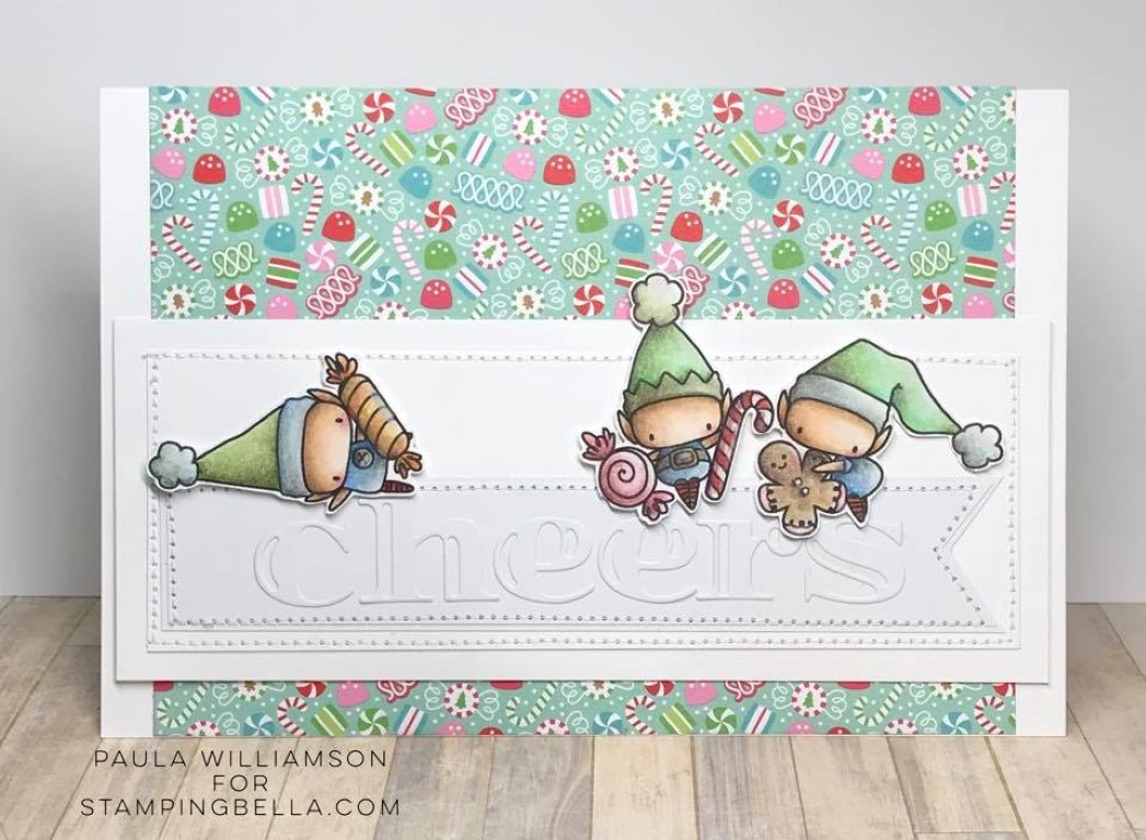 www.stampingbella.com: rubber stamp used: LITTLE BITS SET OF ELVES card by PAULA WILLIAMSON