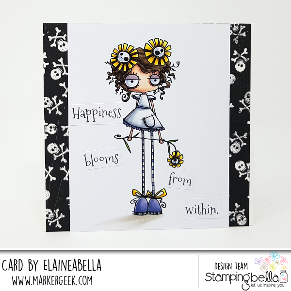 www.stampingbella.com: Rubber stamp: LONG STEMMED ODDBALL, card by Elaine Hughes