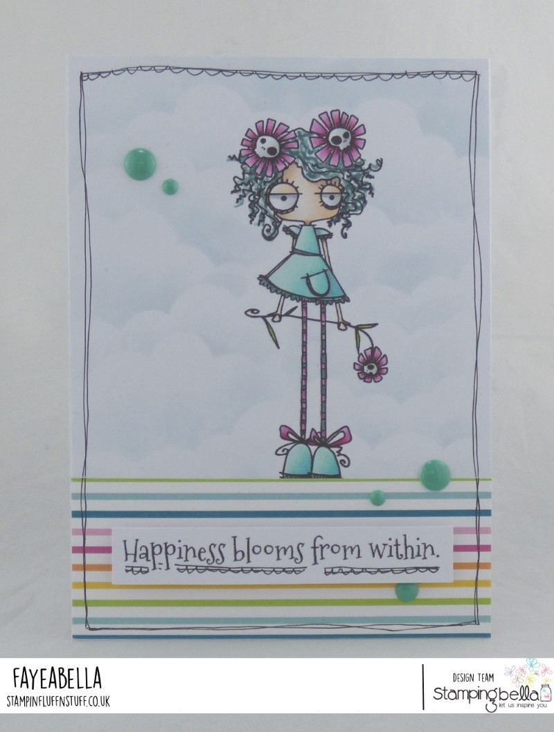 www.stampingbella.com: Rubber stamp: LONG STEMMED ODDBALL, card by FAYE WYNN JONES