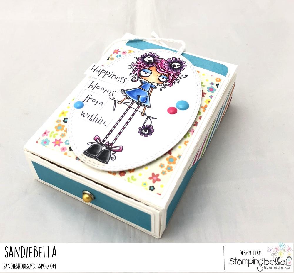www.stampingbella.com: Rubber stamp: LONG STEMMED ODDBALL, box by Sandie Dunne